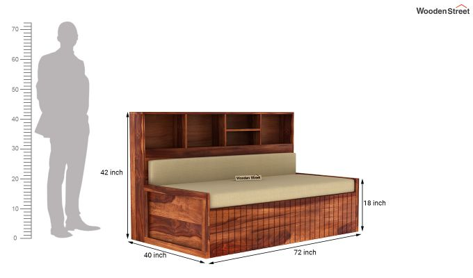 Savannah Sofa Cum Bed With Storage (King Size, Honey Finish)-7
