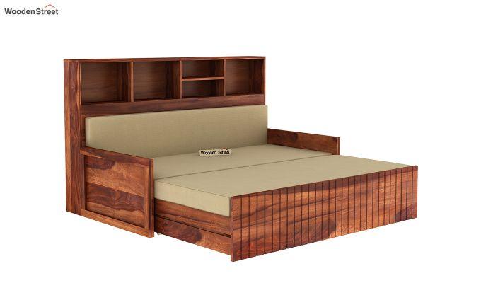 Savannah Sofa Cum Bed With Storage (King Size, Honey Finish)-5