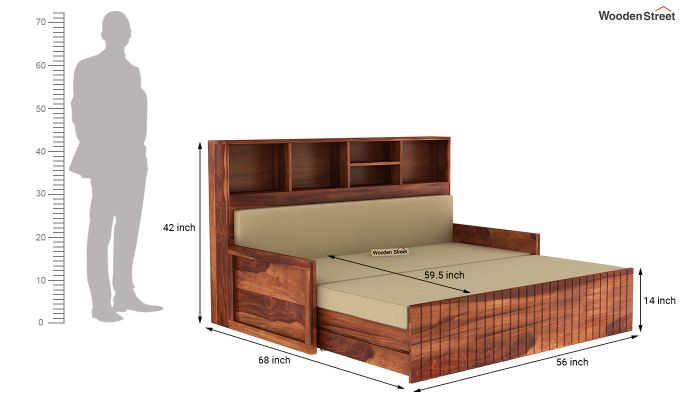 Savannah Sofa Cum Bed With Storage (Queen Size, Honey Finish)-8