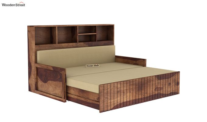 Savannah Sofa Cum Bed With Storage (King Size, Teak Finish)-5