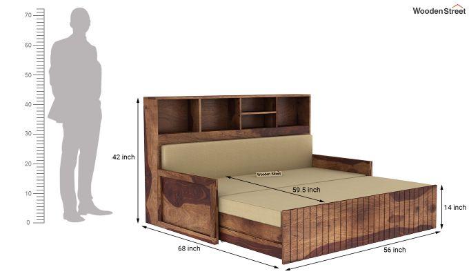 Savannah Sofa Cum Bed With Storage (Queen Size, Teak Finish)-8