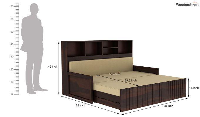 Savannah Sofa Cum Bed With Storage (King Size, Walnut Finish)-8