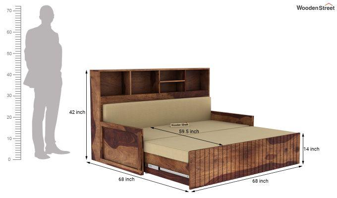 Savannah Sofa Cum Bed With Storage (King Size, Teak Finish)-7