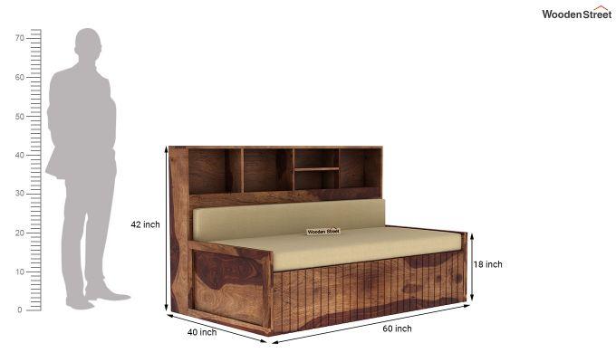 Savannah Sofa Cum Bed With Storage (Queen Size, Teak Finish)-7