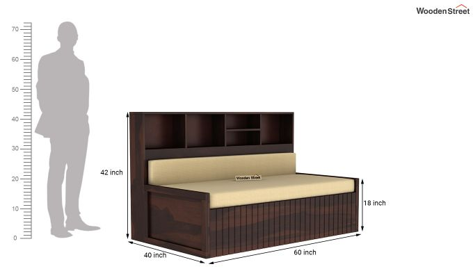 Savannah Sofa Cum Bed With Storage (Queen Size, Walnut Finish)-7