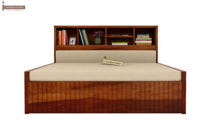 Savannah Sofa Cum Bed With Storage (Queen Size, Honey Finish)-5
