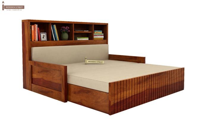 Savannah Sofa Cum Bed With Storage (Queen Size, Honey Finish)-4