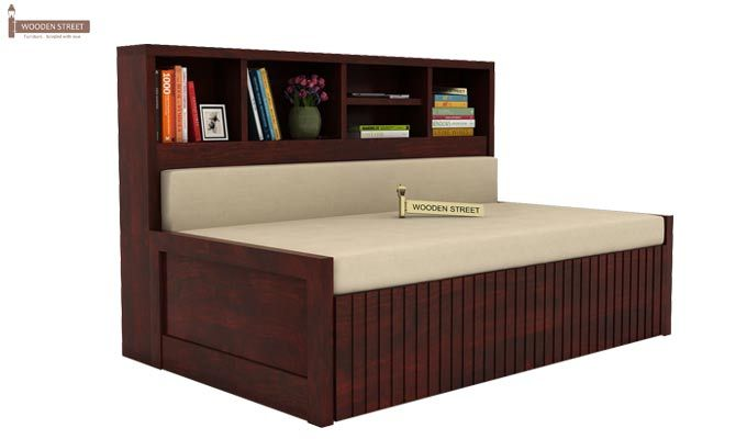 Savannah Sofa Cum Bed With Storage (Queen Size, Mahogany Finish)-1