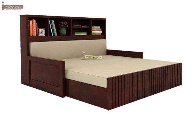 Savannah Sofa Cum Bed With Storage (Queen Size, Mahogany Finish)-2