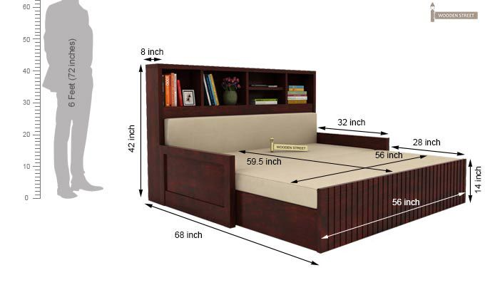 Savannah Sofa Cum Bed With Storage (Queen Size, Mahogany Finish)-6