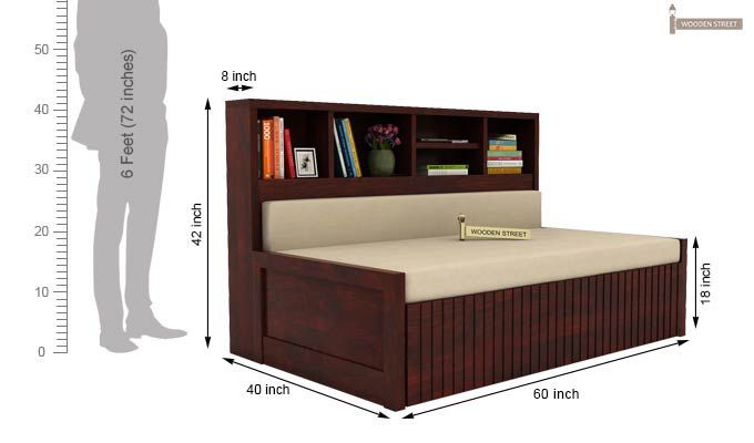 Savannah Sofa Cum Bed With Storage (Queen Size, Mahogany Finish)-5