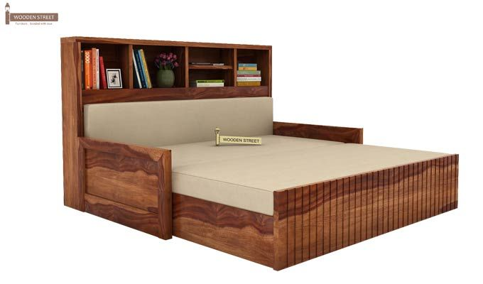Savannah Sofa Cum Bed With Storage (King Size, Teak Finish)-2