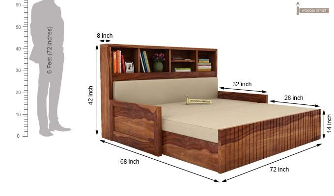 Savannah Sofa Cum Bed With Storage (King Size, Teak Finish)-6