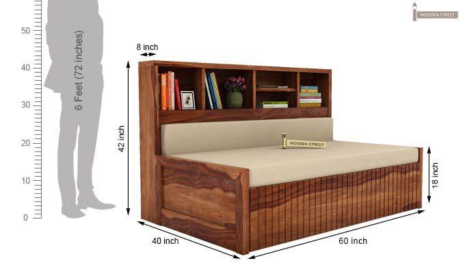 Savannah Sofa Cum Bed With Storage (Queen Size, Teak Finish)-5