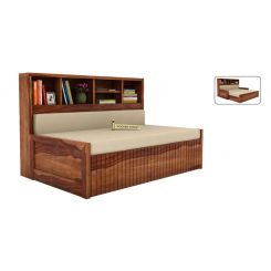 Savannah Sofa Cum Bed With Storage (King Size, Teak Finish)