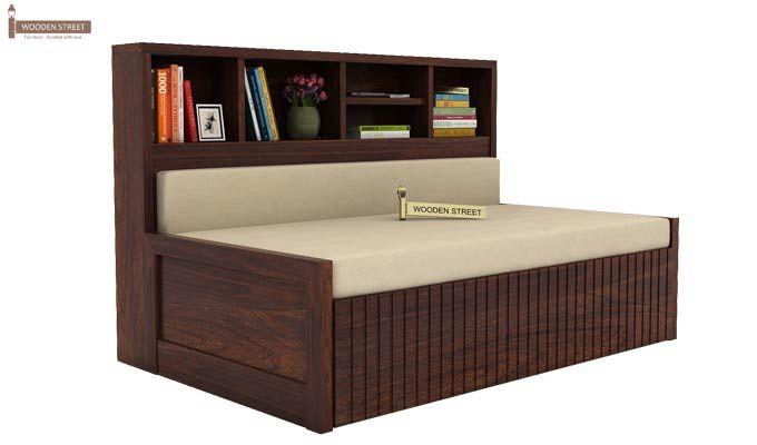 Savannah Sofa Cum Bed With Storage (Queen Size, Walnut Finish)-1