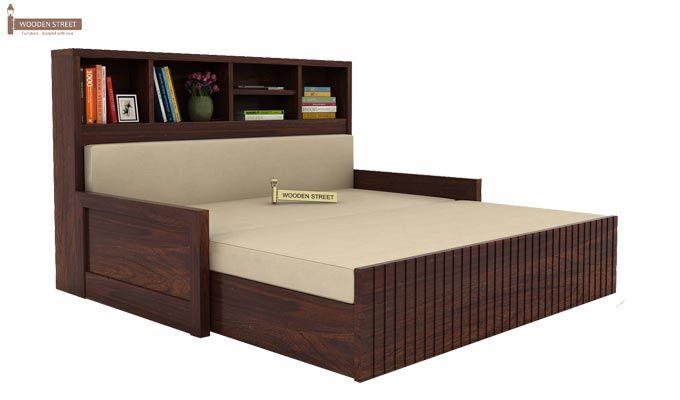 Savannah Sofa Cum Bed With Storage (Queen Size, Walnut Finish)-2