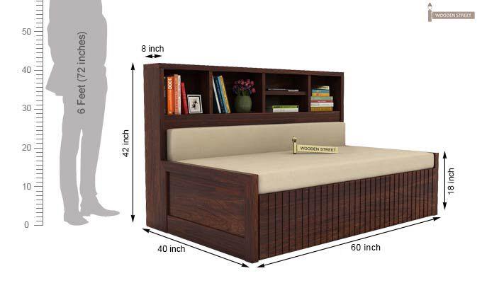 Savannah Sofa Cum Bed With Storage (Queen Size, Walnut Finish)-5