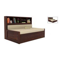 Savannah Sofa Cum Bed With Storage (Queen Size, Walnut Finish)