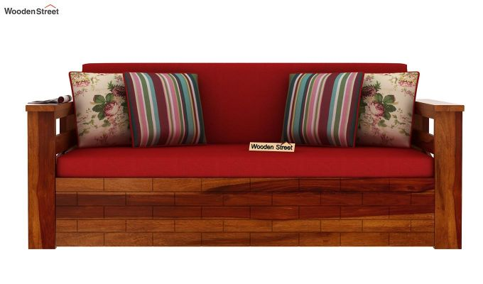 Sereta Sofa Cum Berth (King Size, Dusky Rose, Honey Finish)-4