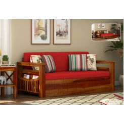 Sereta Sofa Cum Berth (King Size, Dusky Rose, Honey Finish)
