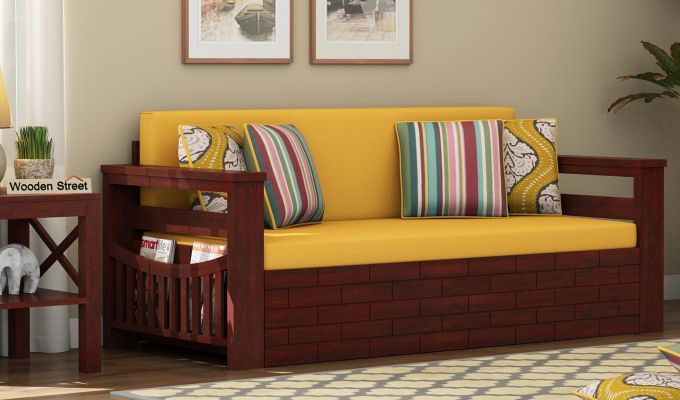 Sereta Sofa Cum Berth (King Size, Yellow Blush, Mahogany Finish)-1