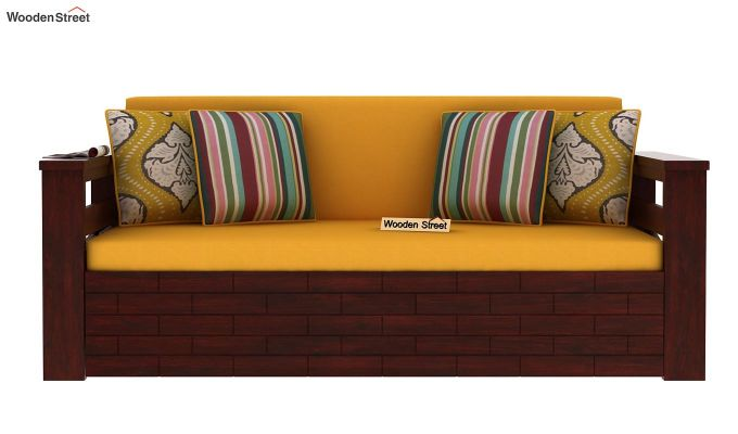 Sereta Sofa Cum Berth (King Size, Yellow Blush, Mahogany Finish)-4