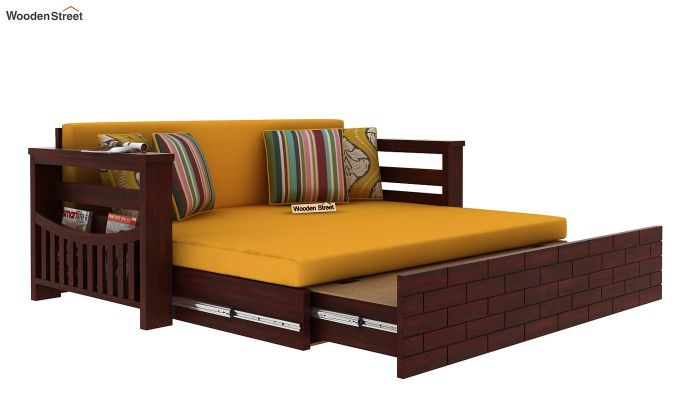 Sereta Sofa Cum Berth (King Size, Yellow Blush, Mahogany Finish)-7