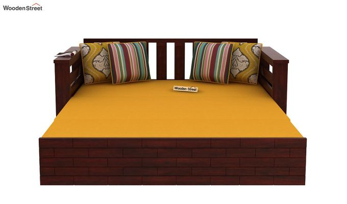 Sereta Sofa Cum Berth (King Size, Yellow Blush, Mahogany Finish)-8