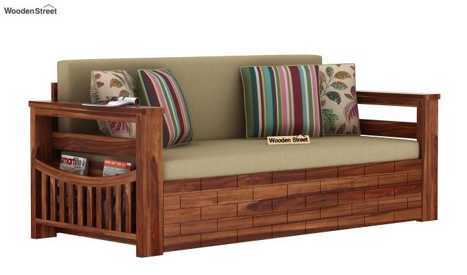 Sereta Sofa Cum Berth (Queen Size, Irish Cream, Teak Finish)-3
