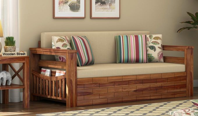 Sereta Sofa Cum Berth (Queen Size, Irish Cream, Teak Finish)-1