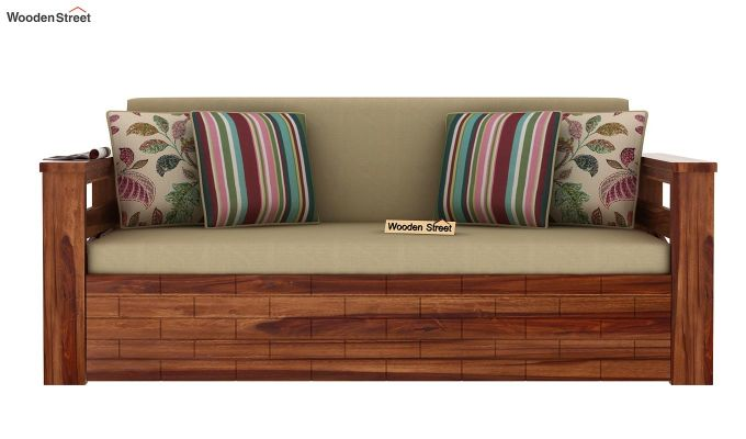 Sereta Sofa Cum Berth (Queen Size, Irish Cream, Teak Finish)-4