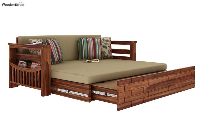 Sereta Sofa Cum Berth (Queen Size, Irish Cream, Teak Finish)-7