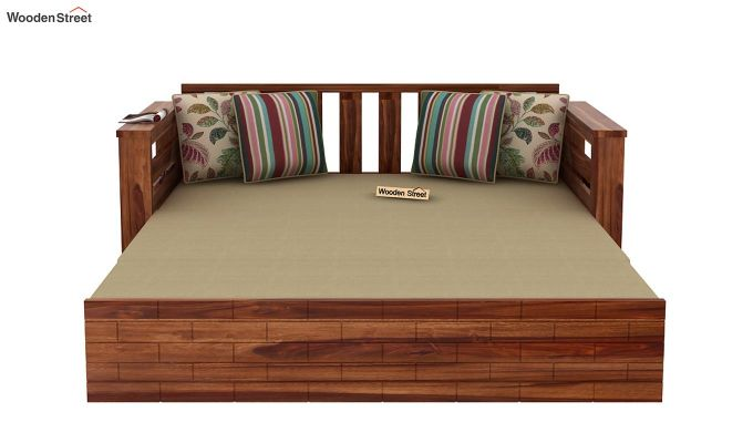 Sereta Sofa Cum Berth (King Size, Irish Cream, Teak Finish)-9