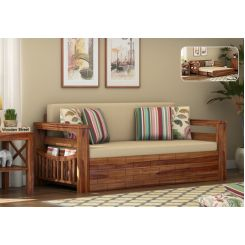Sereta Sofa Cum Berth (King Size, Irish Cream, Teak Finish)