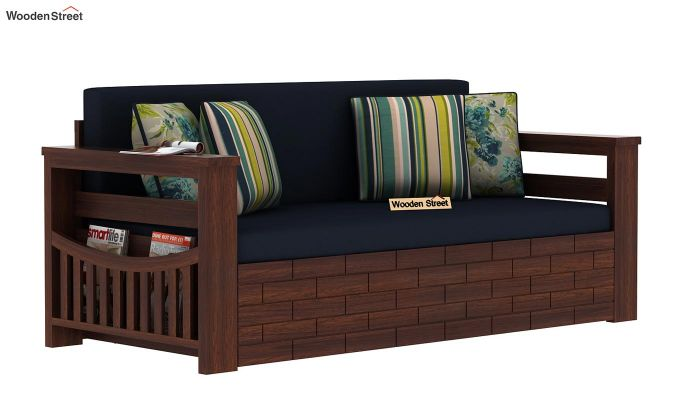 Sereta Sofa Cum Berth (Queen Size, Indigo Ink, Walnut Finish)-3