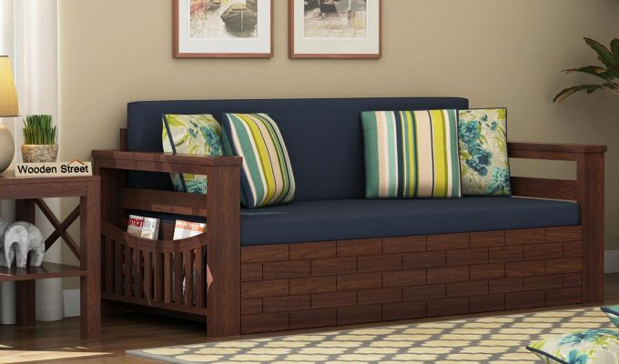 Sereta Sofa Cum Berth (Queen Size, Indigo Ink, Walnut Finish)-1