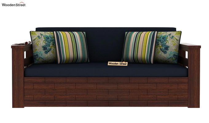 Sereta Sofa Cum Berth (Queen Size, Indigo Ink, Walnut Finish)-4