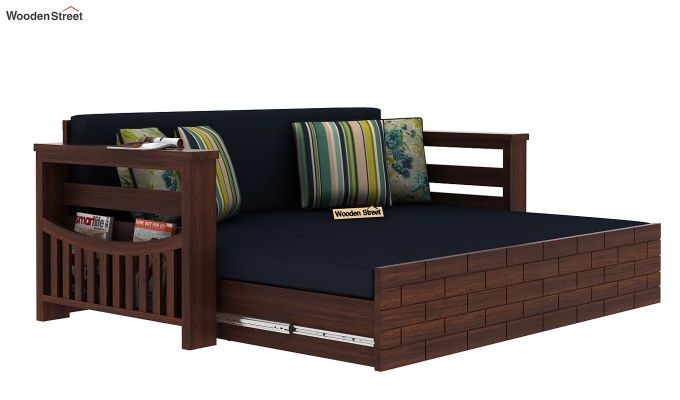 Sereta Sofa Cum Berth (Queen Size, Indigo Ink, Walnut Finish)-6