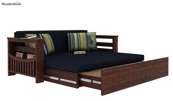 Sereta Sofa Cum Berth (Queen Size, Indigo Ink, Walnut Finish)-7