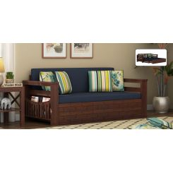 Sereta Sofa Cum Berth (King Size, Indigo Ink, Walnut Finish)