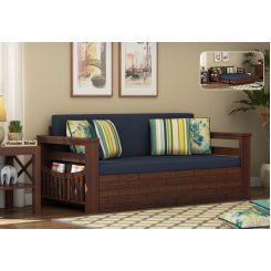 Sereta Sofa Cum Berth (Queen Size, Indigo Ink, Walnut Finish)