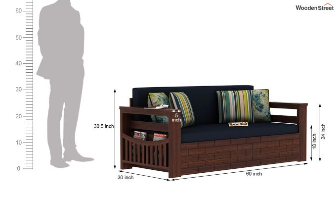 Sereta Sofa Cum Berth (Queen Size, Indigo Ink, Walnut Finish)-10
