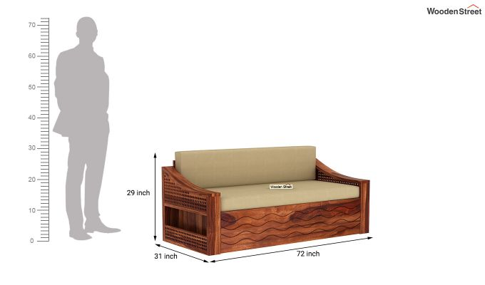 Thar Sofa Cum Bed (King Size, Honey Finish)-9