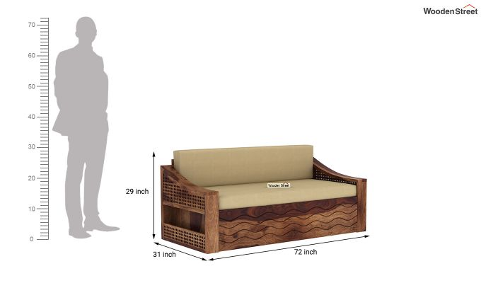 Thar Sofa Cum Bed (King Size, Teak Finish)-9