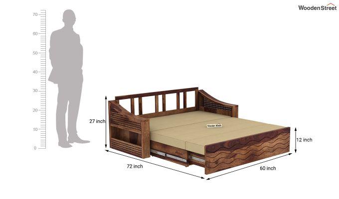Thar Sofa Cum Bed (Queen Size, Teak Finish)-10