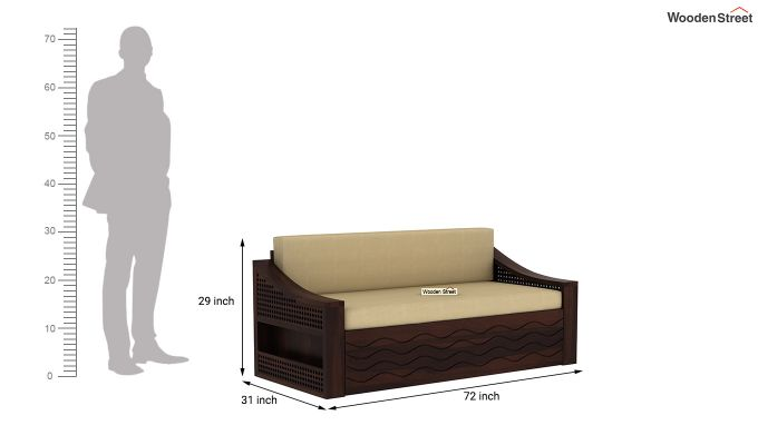 Thar Sofa Cum Bed (King Size, Walnut Finish)-9