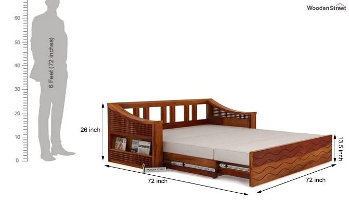 Thar Sofa Cum Bed (King Size, Honey Finish)-12