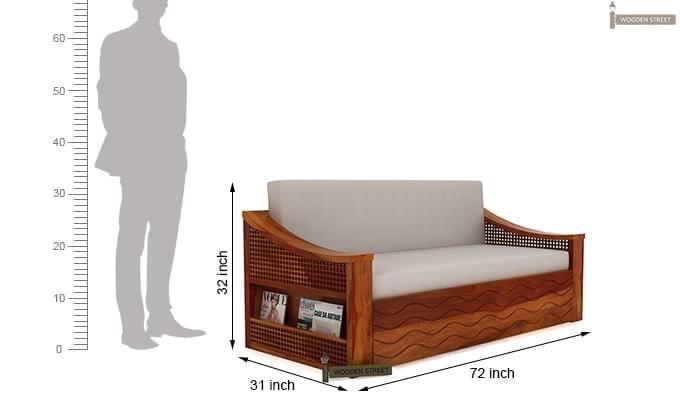 Thar Sofa Cum Bed (King Size, Honey Finish)-11
