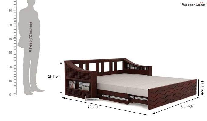 Thar Sofa Cum Bed (Queen Size, Mahogany Finish)-10